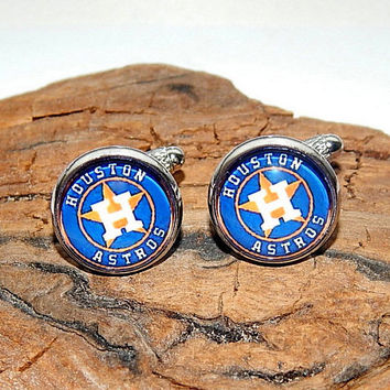 Houston Astros baseball icon logo, American professional baseball MLB, Houston Astros cuff link, baseball cufflinks simbol patch sports team