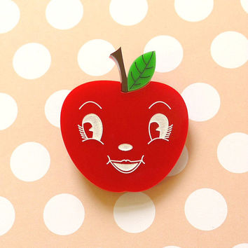 Astrid Apple Brooch - laser cut acrylic - Kitsch Vintage 50s Anthropomorphic Novelty Statement Pin Red Fruit Mid Century Fun Food Happy Face