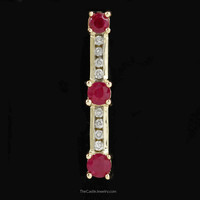 Round Ruby 3 Stone Pendant with Channel Set Round Diamonds in 14K Gold