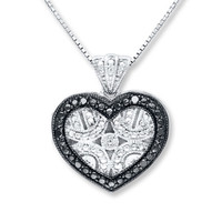 Heart Locket Necklace 1/20 ct tw Diamonds Sterling Silver