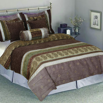 Tache 6 Piece Luxurious Autumn Meadow South Asian Comforter Set