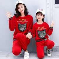 GUCCI Women Children Fashion Embroidery Top Sweater Pullover Pants Trousers Set Two-Piece