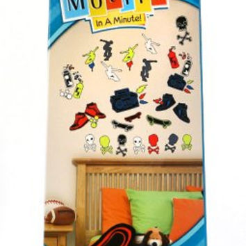 Motifs In A Minute Peel and Stick Wall Decor Appliqus Skater Town