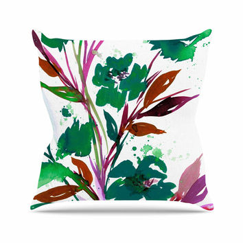"Ebi Emporium ""Pocket Full Of Posies Teal"" Green Pink Outdoor Throw Pillow"
