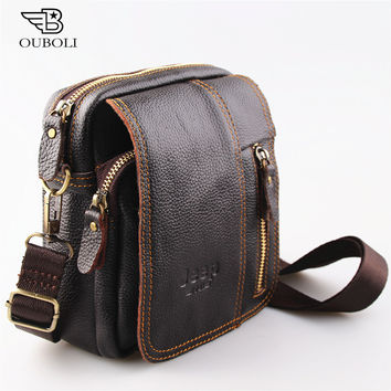 2016 new 100% genuine leather men bag fashion designer crossbody bags design men bag cowhide leather small messenger bag for man