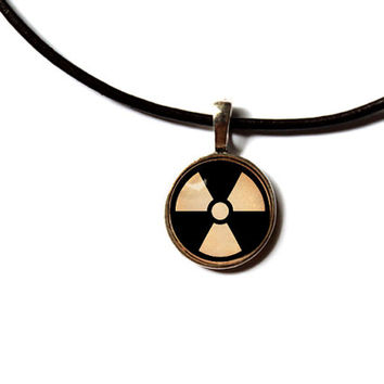Fallout pendant Post apocalyptic jewelry Radiation necklace Antique style n236