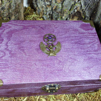 Tarot Box, Jewelry Box, Witchcraft, Wicca,Metallic Purple Trinket Box, Isis,Wiccan, Pagan Keepsake Box