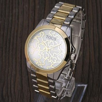 TOUS 2018 trendy men and women with the same fashion wild quartz watch F-YY-ZT silver/gold