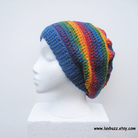 Rainbow Stripes Crochet Slouch Hat, ready to ship.