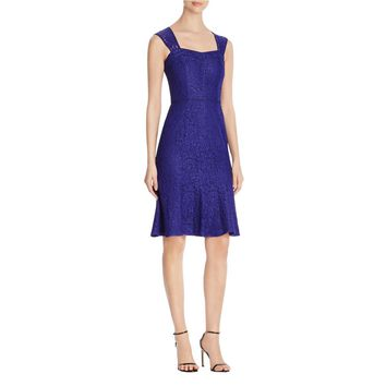 Adrianna Papell Womens Lace Envelope Back Cocktail Dress