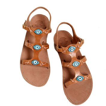 15% OFF Tan Leather Evil Eye Sandals, Handmade Leather Sandals, Women's Shoes, Strappy Leather Sandals, Greek Sandals, Strappy Sandals