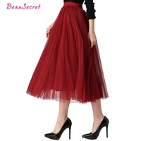 2017 Autumn & Winter Fashion Faldas Korean Style 8 M Big Swing Maxi Skirts Womens Jupe High Waist Tutu Adult Long Tulle Skirt