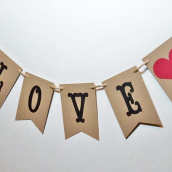 Valentine Wedding Garland Shower Banner Love Bunting home decor photo prop