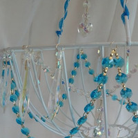 Faux Chandelier Aqua Turquoise and Rainbow Chandelier Crystals Crystal AB Icicle Crystals