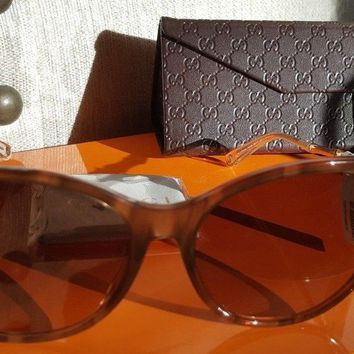 GUCCI GG3777 Oversized CatEye Rose Gld Bamboo Temple Sunglasses w Case (New)