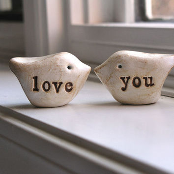 Wedding cake topper...Love birds... love you