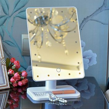 LED Touch Screen Makeup Mirror Professional Vanity Mirror With 16 LED Lights Health Beauty Adjustable Countertop Rotating mirror