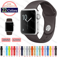 42mm 38mm M/L S/M Silicone Watch Band With Connector Adapter For for iWatch Sport Buckle Bracelet Series 1 2 Cocoa Color