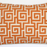 Sale Pillow.Rust or BURNT ORANGE.12x16 or 12x18 inch Decorator Lumbar Pillow Cover.Printed Fabric on Both Sides.Indoor.Outdoor.Cushions.Cm