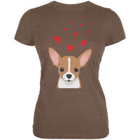 Valentine's Day Chihuahua Love Hearts Heather Brown Juniors Soft T-Shirt