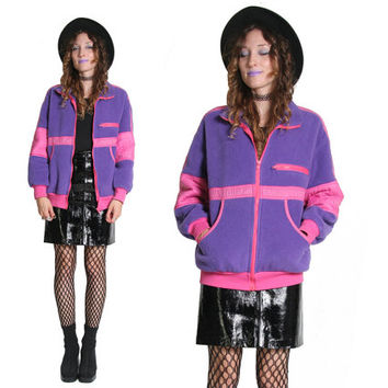 90s Pink and Purple Fleece Jacket - Fuzzy Warm Sweater - Pastel Goth - Nu Goth - Nu Grunge - Fleece Sweater - 90s 1990s - Medium - Kawaii