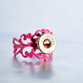 Bullet Ring - Nickel with Pink Stone Filigree