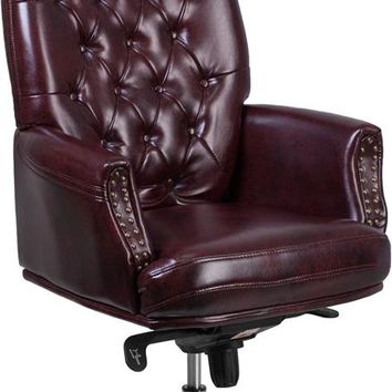 High Back Traditional Tufted Burgundy Leather Multifunction Executive Swivel Ergonomic Office Chair with Arms [BT-90269H-BY-GG]