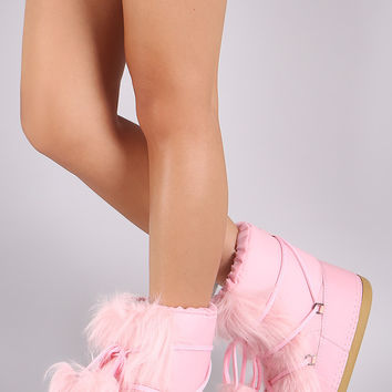 Nylon Fur Trim Pom Pom Lace Up Boots