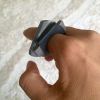 Handmade Grey Marbled Polymer Clay Rings