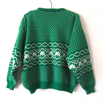 vintage Shamrock Print Boston Celtics Style Sweater - Kelly Green Irish Style Woven Jumper