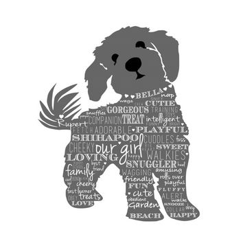 SHIH POO Personalized Dog Art ~ unique gift for men ~ for pet lovers ~ pick words ~ color ~ printable file ~ Birthday Gift or Pet mememorial