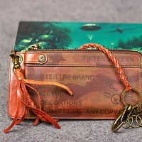 Leather men long wallet chain clutch camouflage vintage zip clutch men | EverHandmade