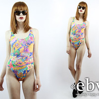 Vintage Swimsuit Vintage 80s Graphic Print SOUTH BEACH Bathing Suit S M Vintage Bathing Suit 80s Swimsuit Neon Swimsuit Hipster Swimsuit