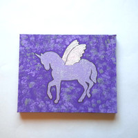 Purple Unicorn with wings fashionable acrylic canvas painting for trendy girls room or home decor