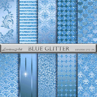 "Blue and glitter digital Paper ""Blue glitter"" digital background for scrapbooking, invites, cards,web design,jewelry making.Instant Download"