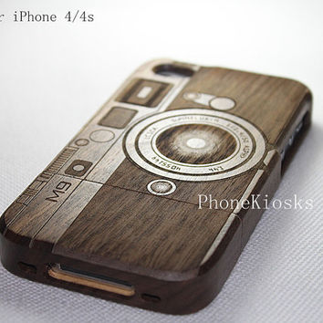 Natural Wood iPhone 4 Case, iPhone 4s wood Case - Engraved Camera Case / Leica M9, Photography, Walnut wood, Gift