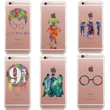 Avada Kedavra Harry Potter Bitch deer Harry Potter Watercolor Art Soft Clear TPU Phone Case For iPhone 5C 5s 6 6s 7 8 Plus X SE