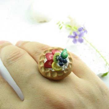 Fruit Waffle Ring - polymer clay food jewelry , food ring
