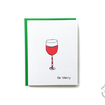 Be Merry Christmas Wine Glass Set of 12 Cards.  Holiday Wine Greeting.  Funny Christmas Cards. Holiday Party Invitation.