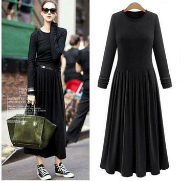 ESBONC. Nice knitted women's pleated dress vintage Autumn long sleeve maxi dresses,plus size candy color dress,comfortable & elegant 6xl