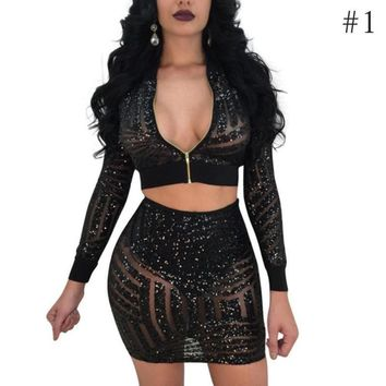Sexy Women Mesh Sequins Dress Winter Long Sleeve Zipper Bodycon Two Piece Set Dress Casual Skinny Ladies Party Dresses