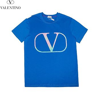 Valentino 2019 new colorful reflective classic logo print round neck half sleeve T-shirt Blue