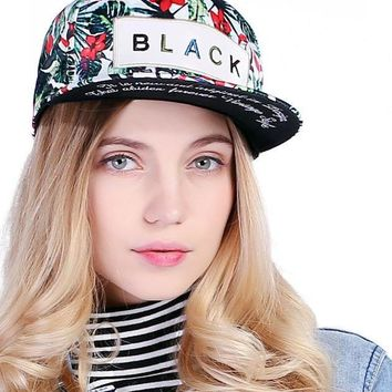 Flower Label Snapback Cap Hip Hop Cap Floral Casquette Snap Back Fashion Baseball Cap Gorras Men Fitted Snapback Hat