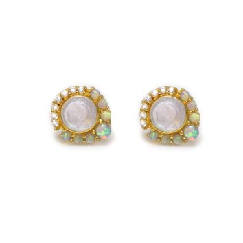 Rainbow Moonstone, Opal & Diamond Mini Universe Studs