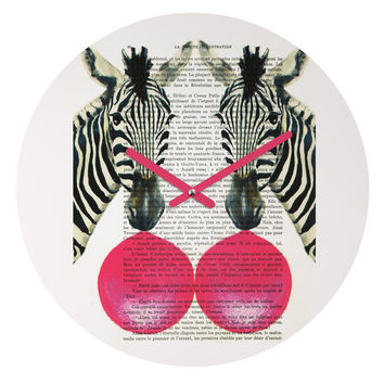 Coco de Paris 2 Zebra With Bubblegum Round Clock