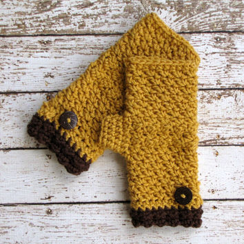 Mustard Yellow Fingerless Gloves, Crocheted Wrist Warmers, Brown and Dark Yellow Winter Gloves