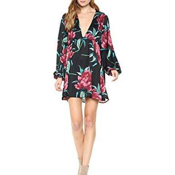 Show Me Your Mumu Women's Dakota Dress, Ruby Bloom Satin, S