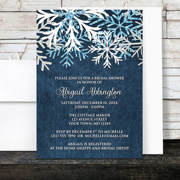 Winter Bridal Shower Invitations Denim - Rustic Snowflake Navy Blue Denim Frosty - Printed Invitations