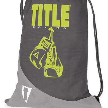 TITLE BOXING HEAVY DUTY REINFORCED DRAW STRING BACK SACK - GRAY/NEON YELLOW