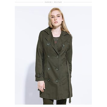 Autumn Fashion Long Trench Brand Women Coat Spring Coats Casual Cotton Army Green Trench Womens Outerwear